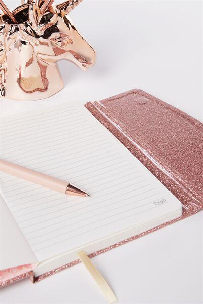 Medium Magnetic Close Journal, ROSE GOLD GLITTER