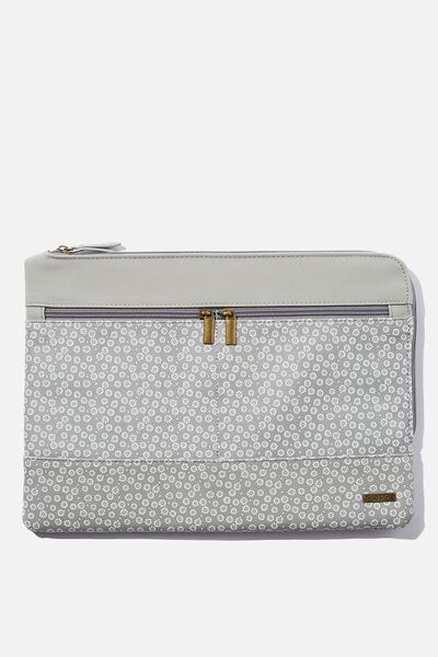 Oxford 13 Inch PU Laptop Case, STAMPED DAISY GREYSCALE