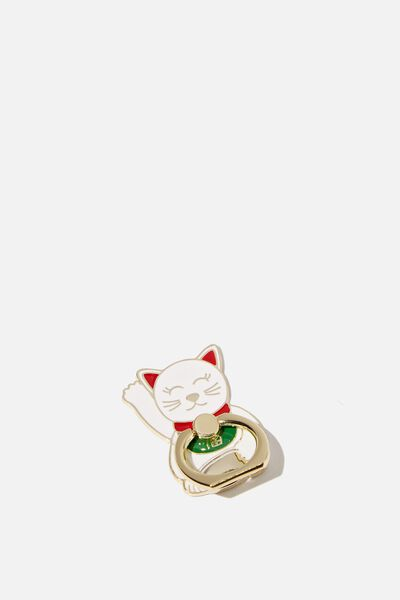 Enamel Phone Ring, LUCKY CAT