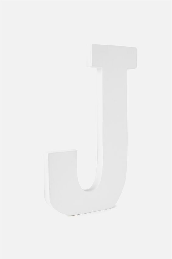 Large Letterpress Letter, WHITE J