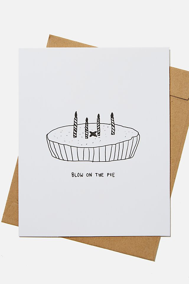 Funny Birthday Card, RG NZ BLOW ON THE PIE