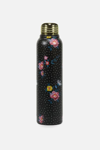 Small Metal Drink Bottle, EMBROIDERED FLORAL