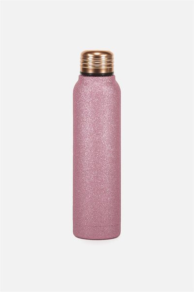 Small Metal Drink Bottle, PINK GLITTER