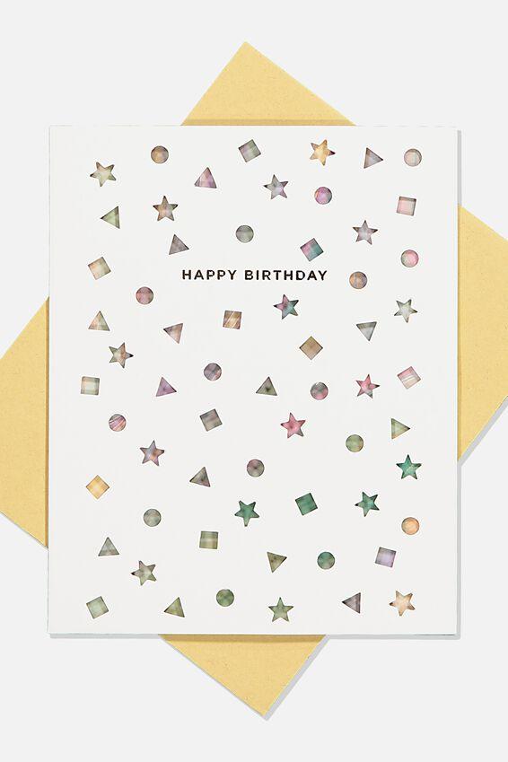 Premium Nice Birthday Card, DIE CUT SHAPES GELATI MARBLE
