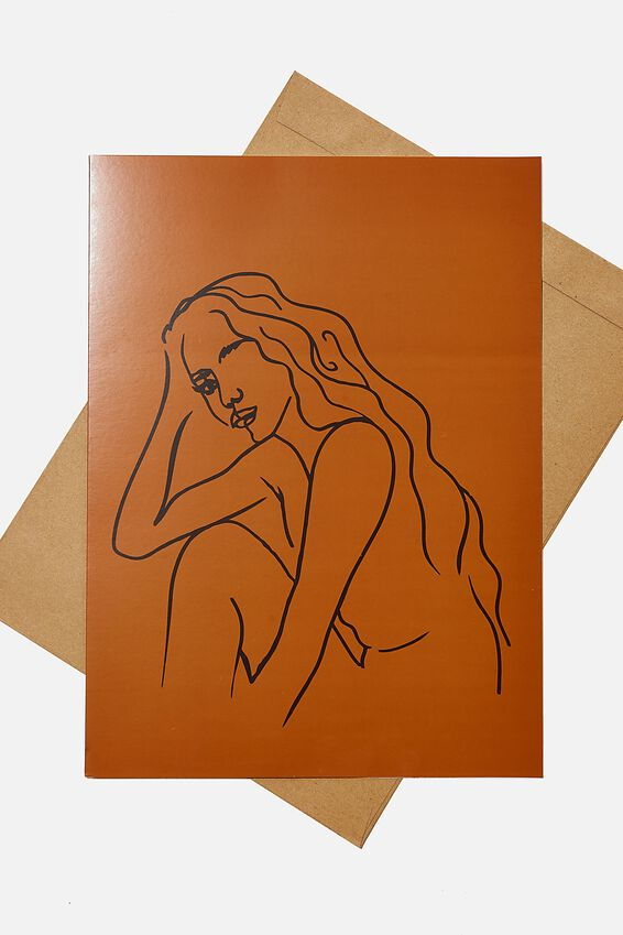 Large Fashion Card, GIRL LINE DRAWING RUST