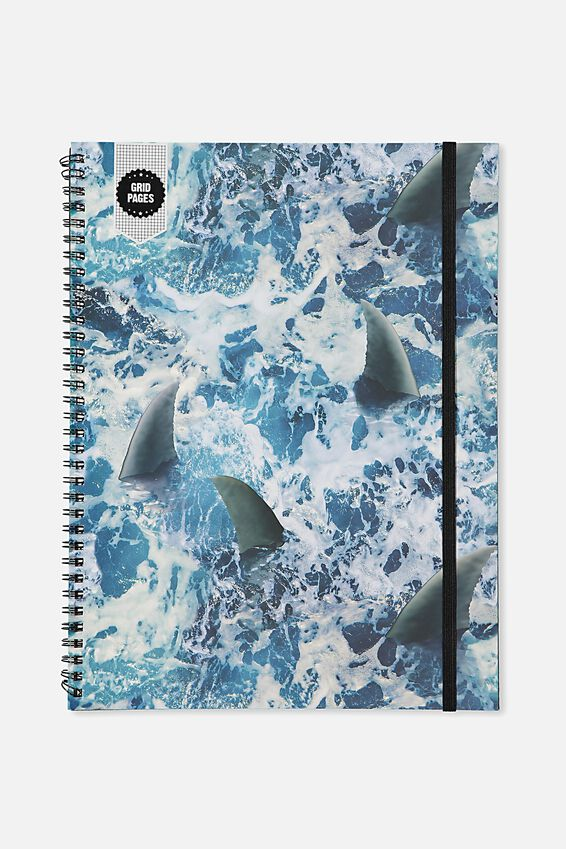 A4 Spinout Notebook Grid Page, SHARK WATER