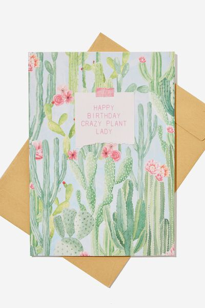 Nice Birthday Card SMALL PLANT LADY CACTUS