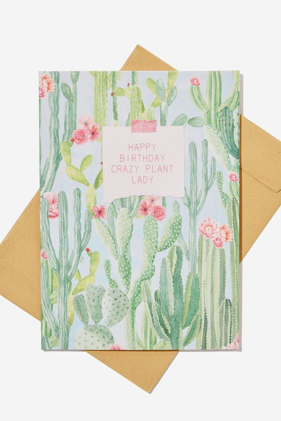 Nice Birthday Card, SMALL PLANT LADY CACTUS