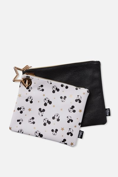 Duo Bag Set, LCN WHITE BASED MICKEY DITSY PRINT