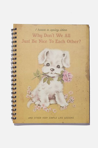A4 Campus Notebook Recycled, VINTAGE DOG BE NICE TO EACH OTHER