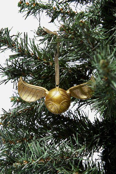 Resin Christmas Ornament, LCN WB GOLD SNITCH