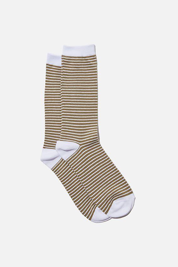 Socks, KHAKI PINSTRIPE