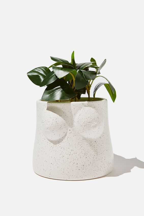 Midi Shaped Planter, WHITE SPECKLE BOOBS!