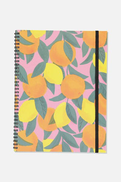 A4 Spinout Notebook Recycled, ORANGES & LEMONS