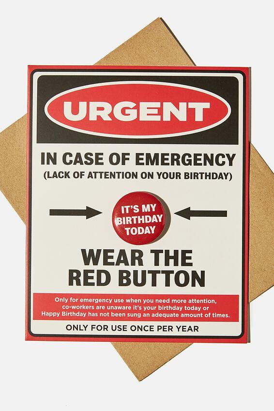 Premium Badge Card, IN CASE OF EMERGENCY BADGE
