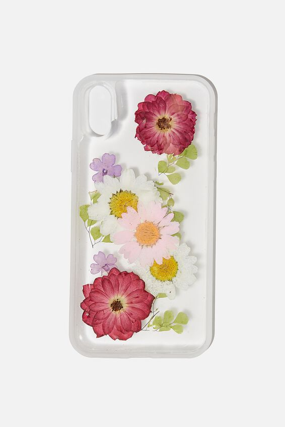 Snap On Protective Phone Case X, Xs, TRAPPED DAISY WITH PINK & PURPLE FLOWERS