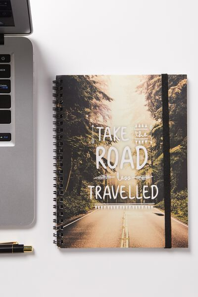 A5 Spinout Notebook - 120 Pages, ROAD LESS TRAVELLED