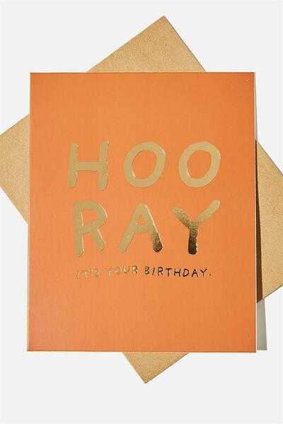 Nice Birthday Card, HOORAY BIRTHDAY RUST