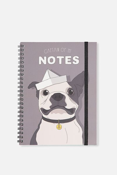 A5 Spinout Notebook - 120 Pages, CAPTAIN FRENCHIE
