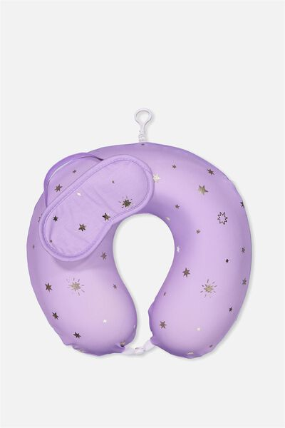 Foam Travel Pillow Set, LILAC WITH FOIL
