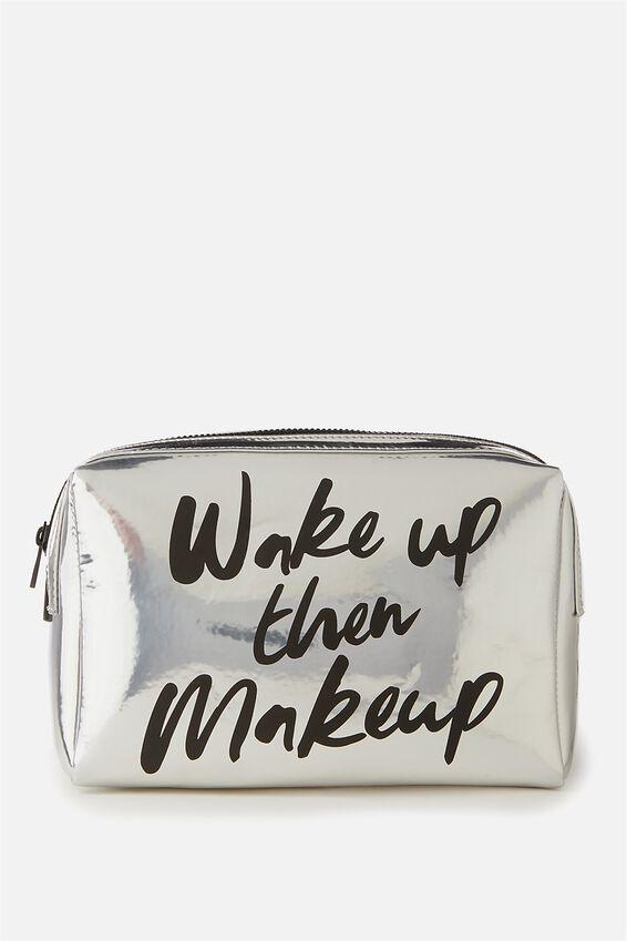 Dual Zipper Cosmetic Case, WAKE UP