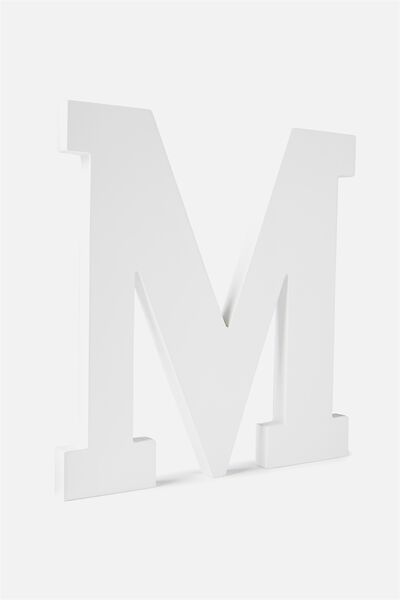 Large Letterpress Letter, WHITE M