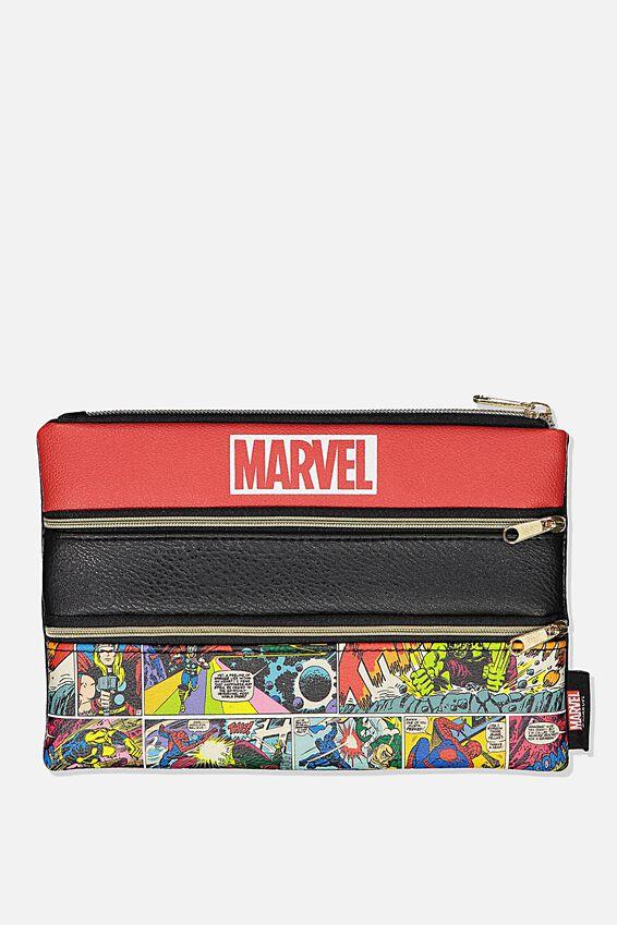 Marvel Double Archer Pencil Case, LCN MARVEL LOGO COMIC YARDAGE
