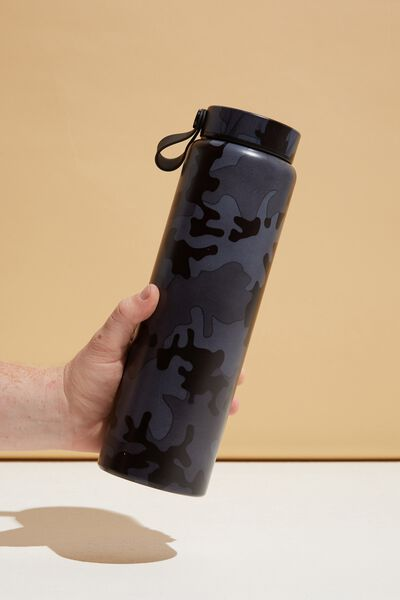 On The Move Metal Drink Bottle 1L, GREYSCALE CAMO