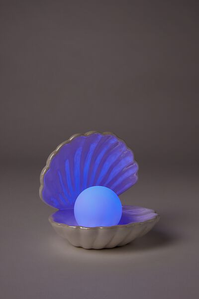 Mini Ceramic Novelty Light, CLAM IRIDESCENT