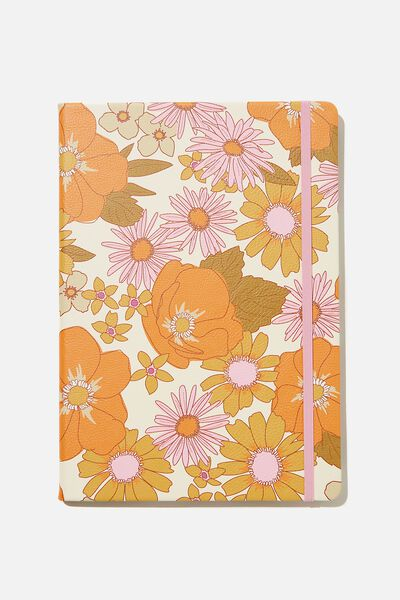 "A4 Buffalo Journal (8.2"" x 11.6""), PR STEVIE FLORAL PINK ORANGE"