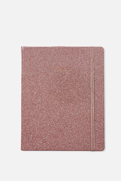 2018 19 18 Month Diary, ROSE GOLD GLITTER