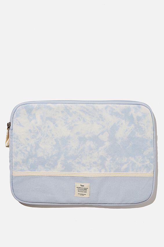 Canvas 13 Inch Laptop Case, DENIM BLUE TIE DYE WITH BLUE SPLICE