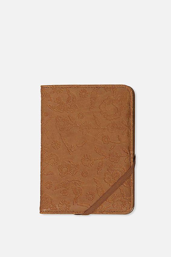 Passport Holder, MID TAN FLORAL