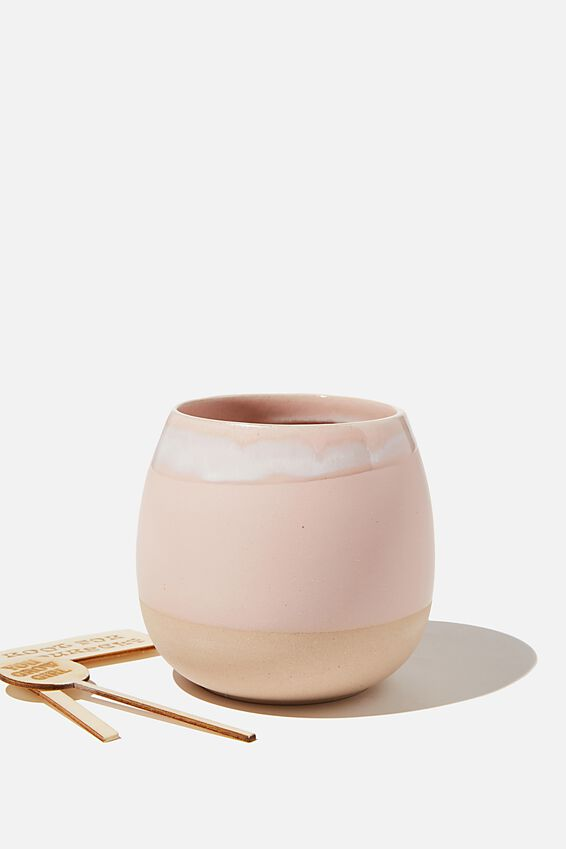 Midi Shaped Planter, PINK & WHITE GLAZE