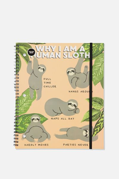 College Ruled Spinout Notebook V, HUMAN SLOTH