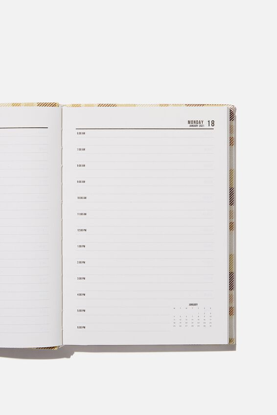 2021 A5 Oxford Daily Diary, THICK CHECK BROWNS