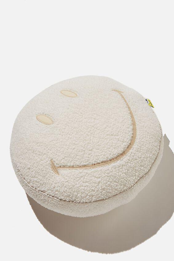 Linen Get Cushy Cushion, LCN SMI SMILEY ECRU