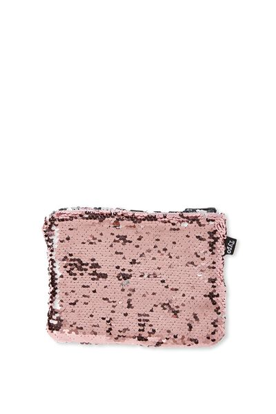 Shape It Pencil Case, PINK & SILVER REVERSIBLE