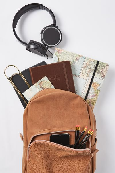 Get Set Backpack, MID TAN TOOLED