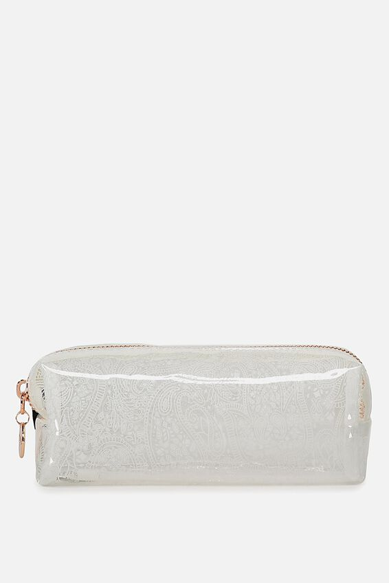 Clear Bailey Pencil Case, WHITE LACE
