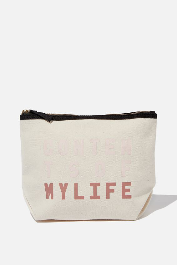 Cotton Travel Pouch, RAW CANVAS LIFE CONTENTS