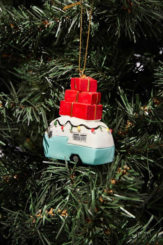 Resin Christmas Ornament, PRESENT CAMPER