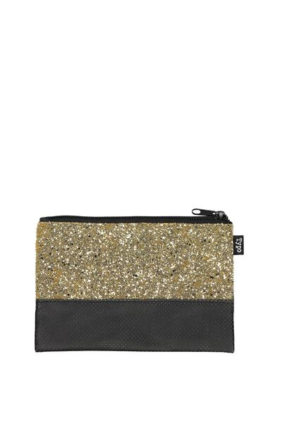 Two Tone Pencil Case, BLACK AND GOLD GLITTER
