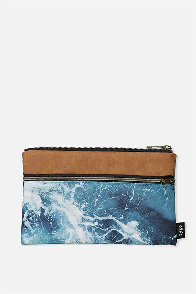 Archer Pencil Case, OCEAN WATER BLACK