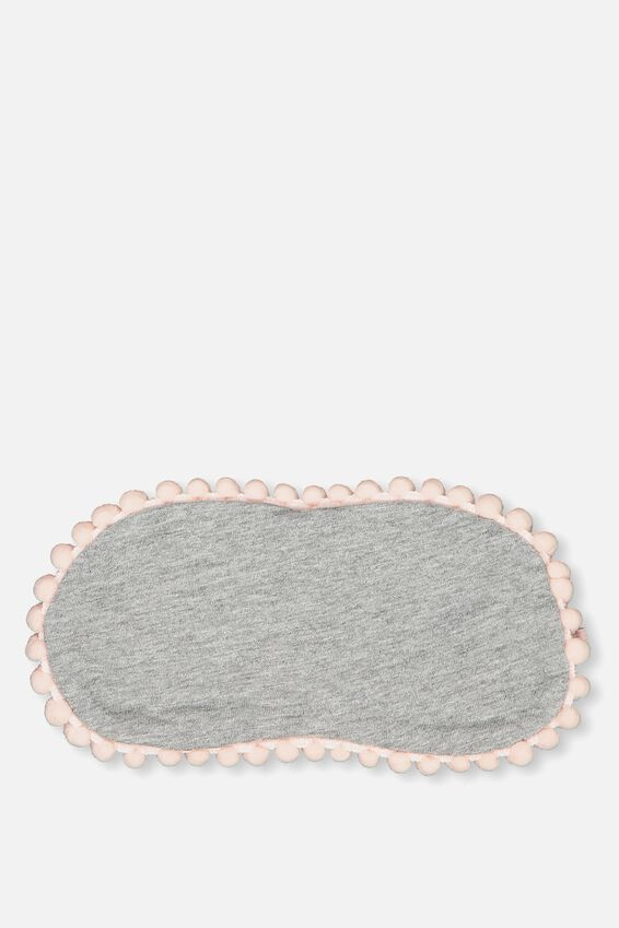 Easy On The Eye Sleep Mask, GREY MARLE AND PINK POM POM
