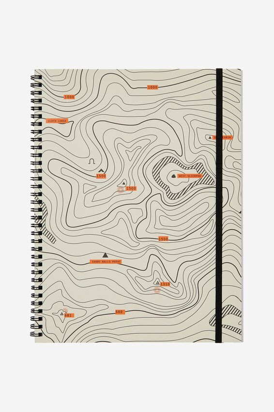 A4 Spinout Notebook - 120 Pages, TOPOGRAPHICAL MAP!