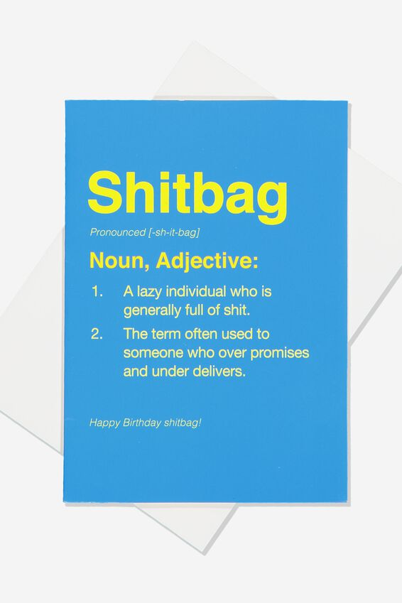 Funny Birthday Card, SMALL SHITBAG DEFINITION!