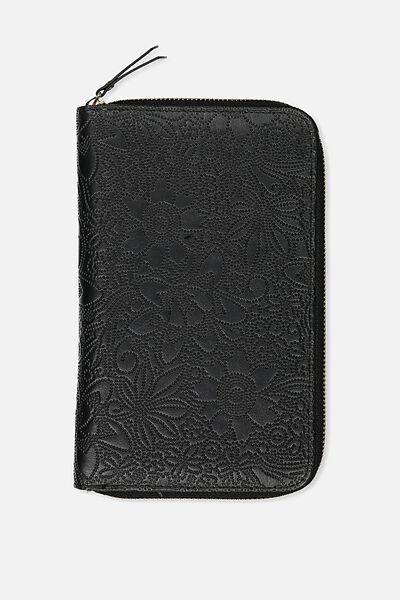Odyssey Travel Compendium, BLACK FLORAL EMBOSSED