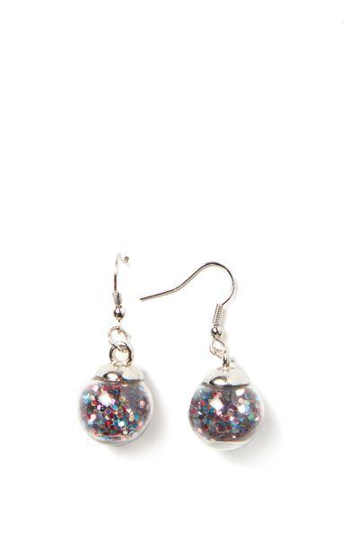 Novelty Earrings, GLITTER BALL MULTI