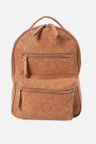 Mini Backpack, MID TAN TOOLED